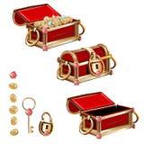 Arca do tesouro com moedas de ouro e as pedras preciosas Imagens de Stock Royalty Free