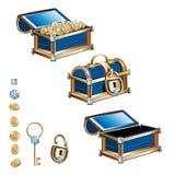 Arca do tesouro com moedas de ouro e as pedras preciosas Imagem de Stock