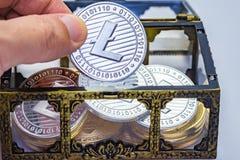 Arca do tesouro de Litecoin imagem de stock royalty free