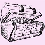 Arca do tesouro e moedas de madeira Imagem de Stock Royalty Free