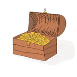 Arca do tesouro tirada mão completamente de moedas de ouro Fotos de Stock Royalty Free