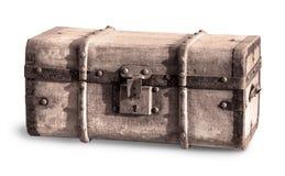 Arca do tesouro velha isolada no branco foto de stock royalty free