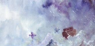 Arca en el medio de la inundación stock de ilustración