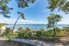 Arcachon Baai, Frankrijk, mening over de baai in de zomer Stock Fotografie