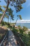 Arcachon Baai, Frankrijk, mening over de baai in de zomer Royalty-vrije Stock Foto