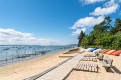 Arcachon Bay, France, benches on the beach, Cap Ferret. Benches on the beach of L`Herbe, oyster village closed to the Cap Ferret Royalty Free Stock Photography