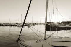 Arcachon Bay, France, harbor of Andernos at sunset Stock Images
