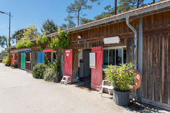 Arcachon Bay, France, oyster huts. Oyster village of Claouey, near the Cap Ferret Royalty Free Stock Photos