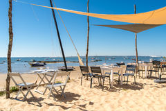 Arcachon Bay, France, restaurant on the beach. Typical restaurant on the beach near the Cap Ferret, in front of the dune of Pyla, or dune of Pilat Stock Image