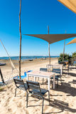 Arcachon Bay, France, restaurant on the beach. Typical oyster restaurant on the beach, near the Cap Ferret, in front of the dune of Pyla, or dune of Pilat Stock Photography