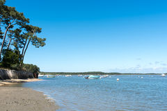 Arcachon Bay, France. Typical view of the bay at Claouey, near the Cap Ferret Stock Images