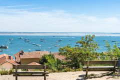 Arcachon Bay, France, view over the oyster village of Lherbe. View over of dune of Pyla, the highest in Europe, from the oyster village of LHerbe, a conservation Stock Images