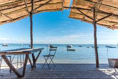 Arcachon Bay, French Atlantic Coast. View over the Arcachon Bay from the terrace of a typical restaurant Stock Photos