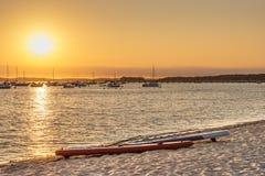 Arcachon Bay, sunset on the beach of Andernos royalty free stock photos