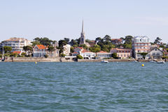 Arcachon coast from a boat seeing the Notre Dame basilique. France Stock Photo