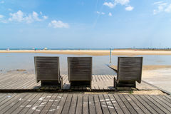 Arcachon, France, benches on tne beach. Boardwalk and benches on the beach of Arcachon Stock Photo