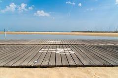 Arcachon, France, boardwalk on tne beach Stock Photos