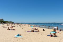 Arcachon, France, the central beach. The central beach of Arcachon in summer and the seafront Stock Images