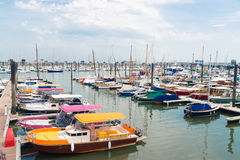 Arcachon, France, the marina. Colored boats in the marina of Arcachon, France Royalty Free Stock Photo
