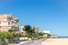Arcachon, France. The seafront. A bike path runs along the beach of Arcachon, a famous seaside resort in France Stock Photo
