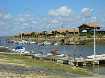 Arcachon oesterlandbouwbedrijven stock foto's
