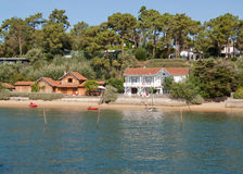 Arcachon scenes. Old fishermen cabins on stilts transformed into vacation homes Royalty Free Stock Images