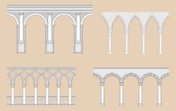 Arcadas (romano, gótico, veneciano, renacimiento) Imagen de archivo libre de regalías