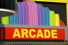 Arcade. A brighty colored arcade entrance sign Stock Photography