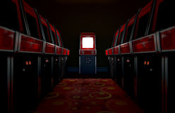 Arcade Aisle With One Illuminated. A 3D render of an aisle of switched off vintage arcade game machines with one at the end with an illuminated screen in a retro Royalty Free Stock Image