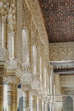 Arcade in Alhambra, Granada. Arcade with arabesques in Alhambra palace, Granada Stock Image