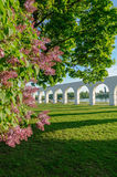 Arcade of the ancient marketplace at Yaroslav's courtyard in Veliky Novgorod, Russia. Arcade of the old Yaroslav's courtyard framed by blooming lilac on the Royalty Free Stock Images