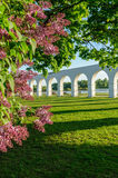 Arcade of the ancient trade marketplace in Veliky Novgorod, Russia. Yaroslav's courtyard with blooming lilac on the foreground in Veliky Novgorod, Russia (focus Stock Photo