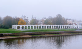 Arcade of the ancient trades in the fog. Veliky Novgorod Stock Photo