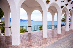 Arcade of Balcony of Europe. Photograph of an arcade on Balcony of Europe, Nerja, Spain Stock Photo