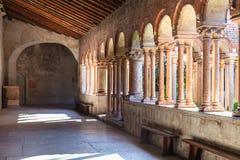 Arcade of Basilica di San Zeno in Verona city. VERONA, ITALY - MARCH 27, 2017: arcade of Basilica di San Zeno San Zeno Maggiore, San Zenone in Verona city Stock Images