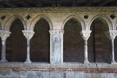 Arcade with beautiful medieval art decorations, France Royalty Free Stock Image