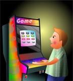 Arcade boy. Illustration of a young boy mesmerised by an arcade game royalty free illustration