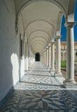 Convent arcade in Italy. Arcade of Chiostro Grande in Certosa di San Martino, Naples, Italy Stock Image