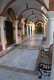 Arcade of a church. Rhodes, Greece Royalty Free Stock Photos