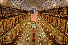 The Arcade of Cleveland Ohio. Photo Taken at Christmas of 2007 from 4th floor of Cleveland's Historic Arcade Royalty Free Stock Photos