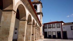Arcade and clock tower. Sao Joao de Pesqueira, Douro Valley, Portugal stock video