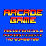 Arcade computer game alphabet font. Pixel gradient oblique letters and numbers. 80s retro video game typescript stock illustration
