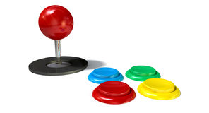 Arcade Control Joystick And Buttons Stockbilder