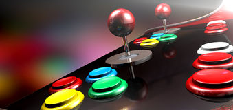 Arcade Control Panel With Joystick And Buttons Stock Photos