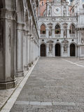 Arcade and Courtyard in the Doge`s Palace: Gothic architecture i Royalty Free Stock Photography