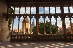 Arcade d'Olite de château, Navarra, Espagne Photographie stock libre de droits