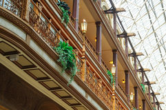 Arcade detail. A portion of the Old Arcade in Cleveland, Ohio: balcony ornamentation and skylight Royalty Free Stock Image