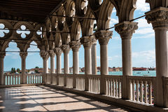Arcade of the Doge's Palace: Gothic architecture in Venice, Ital Royalty Free Stock Images