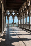 Arcade of the Doge's Palace: Gothic architecture in Venice, Ital. Arcade - Internal View from Doge's Palace, Gothic architecture in Venice, Italy Stock Image
