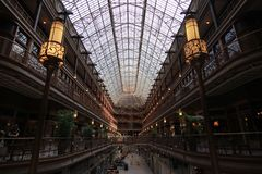 The Cleveland Arcade. The Arcade in downtown Cleveland, Ohio, is a Victorian-era structure of two nine-story buildings, joined by a five-story arcade with a Stock Photos